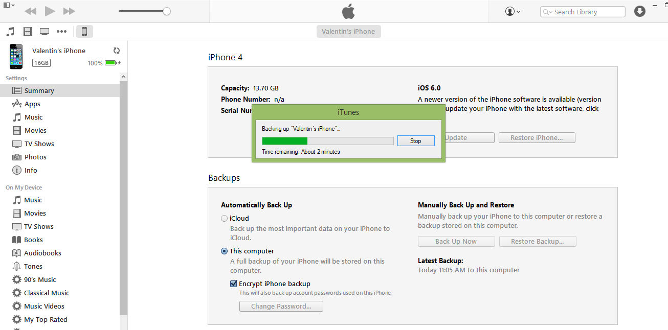 deschide itunes encrypt backup iphone backup minute