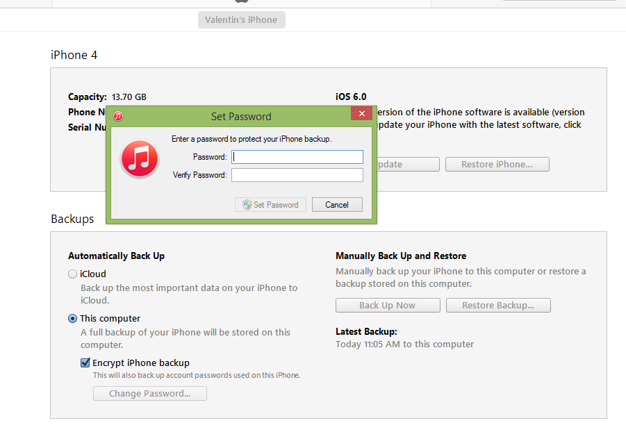 deschide itunes encrypt backup iphone