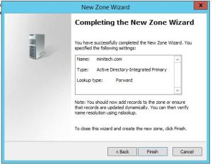 finish new dns zone