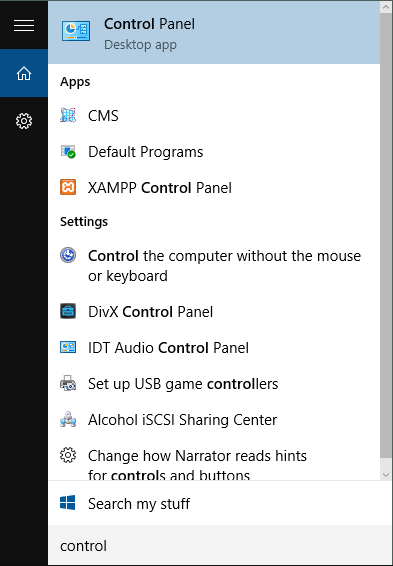 windows search control panel