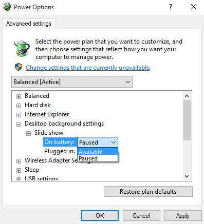 advanced power options windows 10