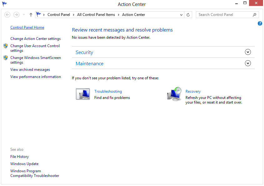 windows defender action center maintenance open