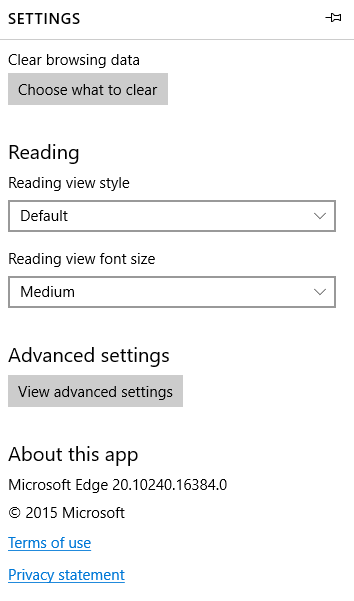 edge advanced settings