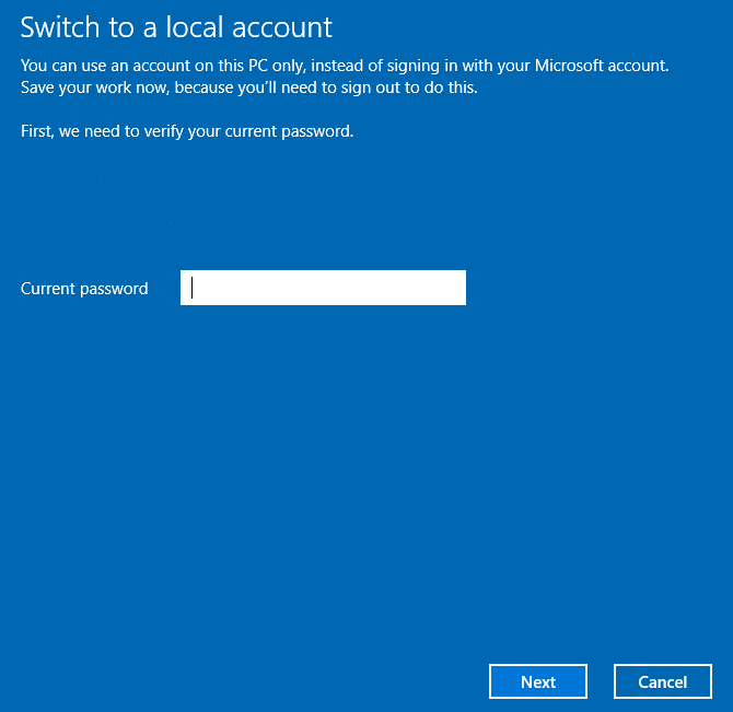switch local account