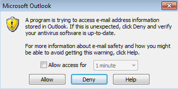 Outlook-security-warning
