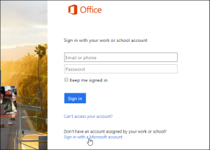 Pagina Log in Office 365
