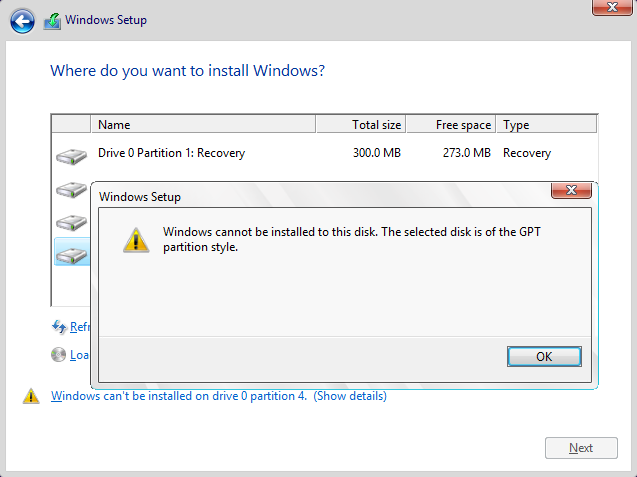 Windows cannot be installed to this disk. The selected disk is of the GPT partition style