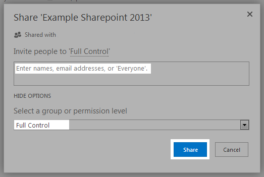 sharepoint share control
