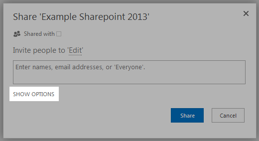 sharepoint show options