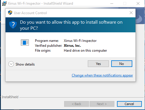 instal xirrus next folder install allow