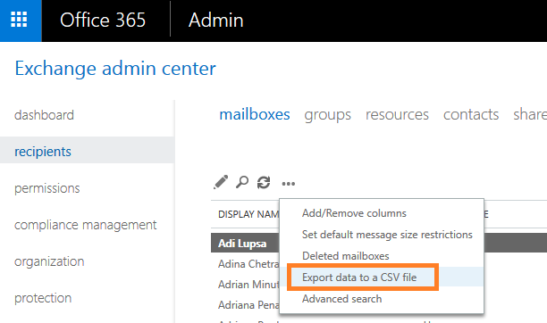cum sa exporti lista cu adresele de email in office 365 exchange export