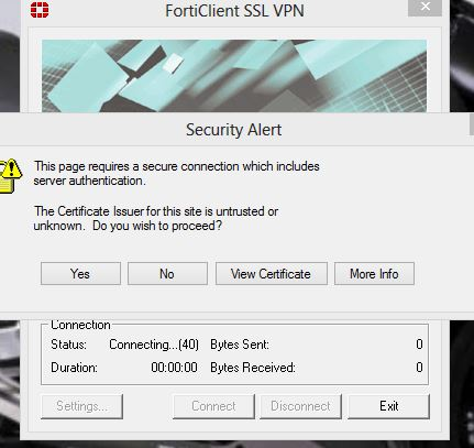Forticlient ssl vpn connecting 40