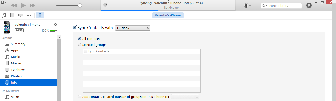 Itunes contacts devices info sync contacts apply sync