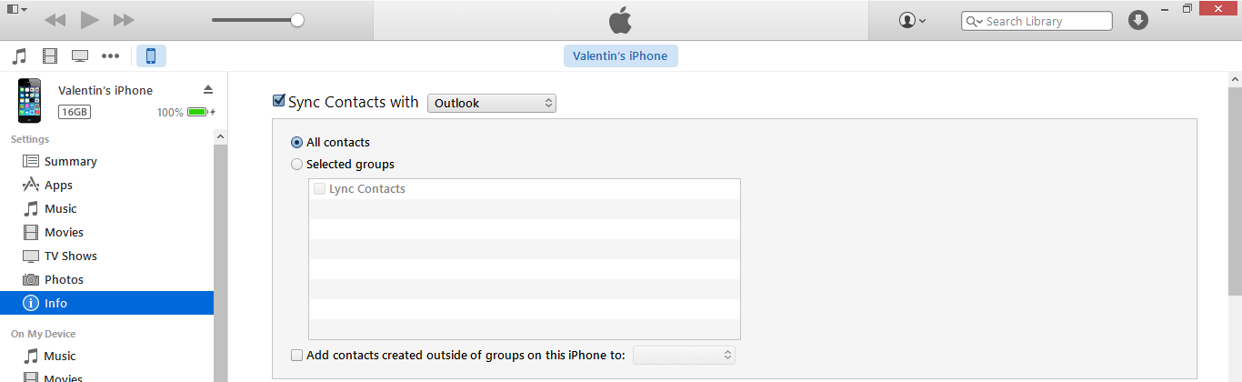 Itunes contacts devices info sync contacts