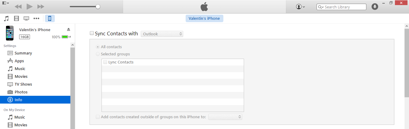 Itunes contacts devices info