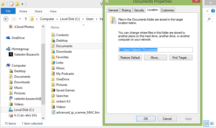 redirectionare profil my documents location