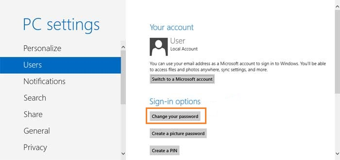 user settings windows 8