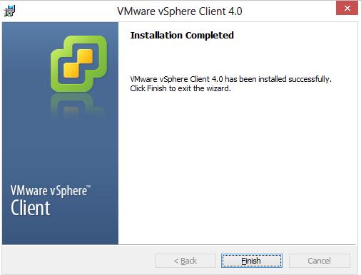 aplicatia vmware vsphere client extras next i agree next next install status finish