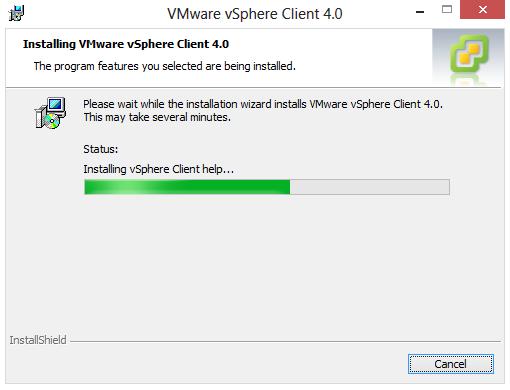 aplicatia vmware vsphere client extras next i agree next next install status