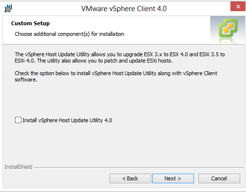 aplicatia vmware vsphere client extras next i agree next next