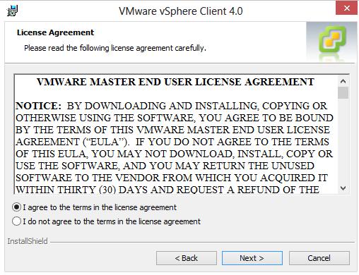 aplicatia vmware vsphere client extras next i agree