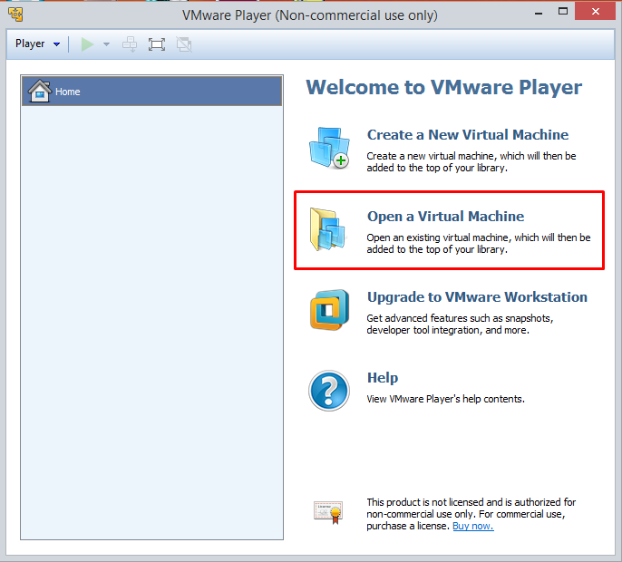 vmware-player-interfata