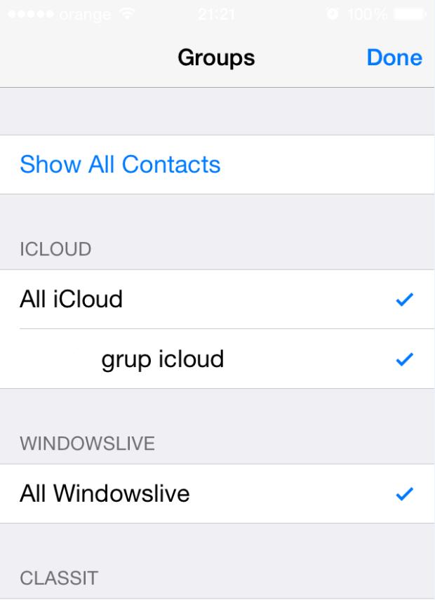 Cum accesam si alegem contactele, daca avem mai multe conturi pe un Iphone contacts groups all