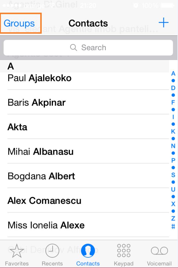 Cum accesam si alegem contactele, daca avem mai multe conturi pe un Iphone contacts groups