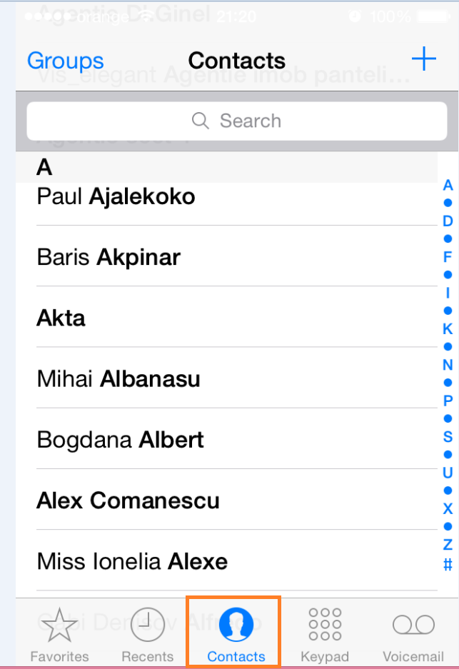 Cum accesam si alegem contactele, daca avem mai multe conturi pe un Iphone contacts