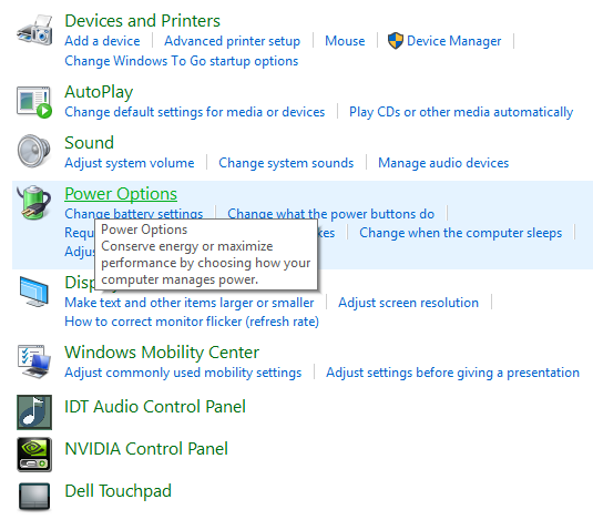 power options windows 10