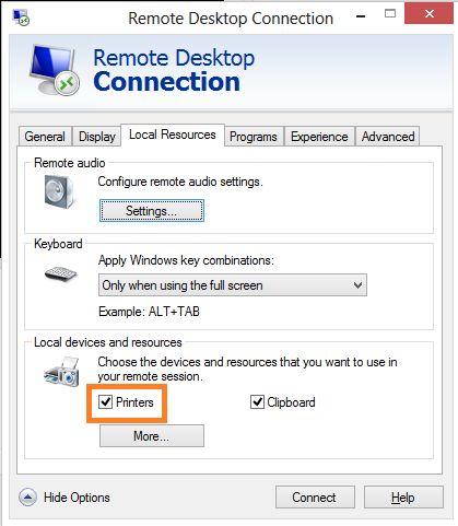 mapare printere in remote desktop sesion