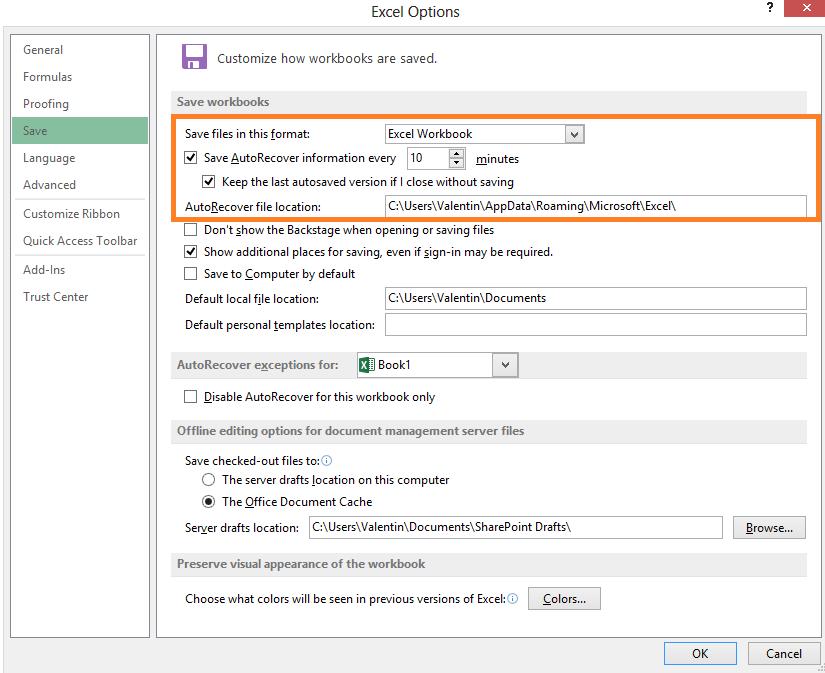 Afla cum poti opri sau porni functia AutoRecover sau AutoSave in office Excel 2013 save save 10minute