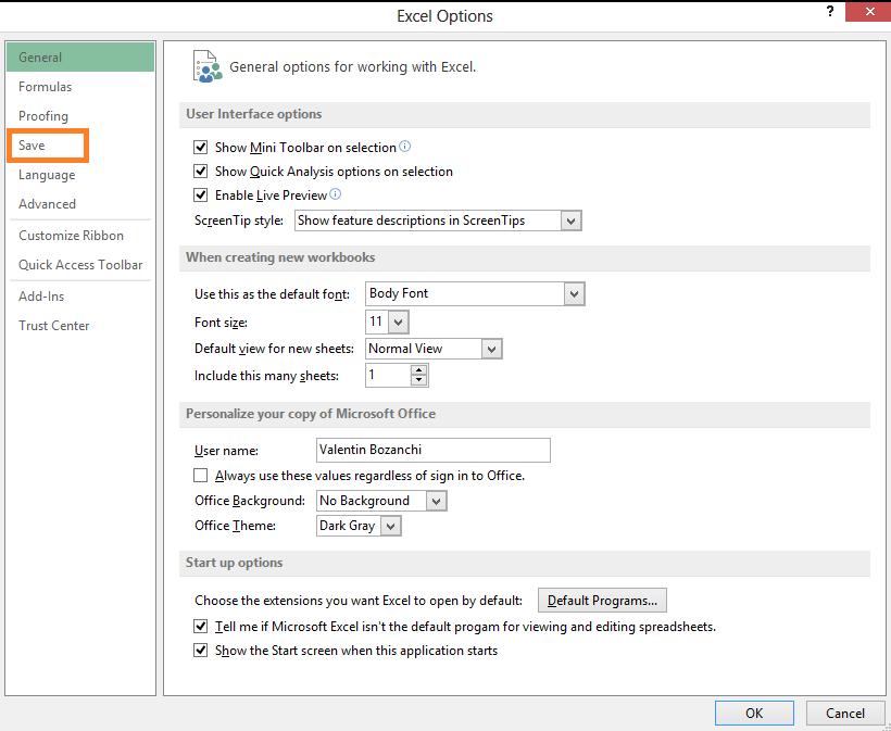 Afla cum poti opri sau porni functia AutoRecover sau AutoSave in office Excel 2013 save save