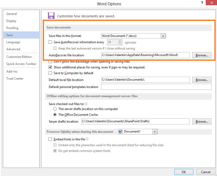 Afla cum poti opri sau porni functia AutoRecover sau AutoSave in office Word 2013 options save save click