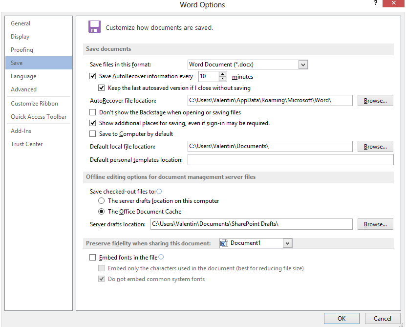 Afla cum poti opri sau porni functia AutoRecover sau AutoSave in office Word 2013 options save