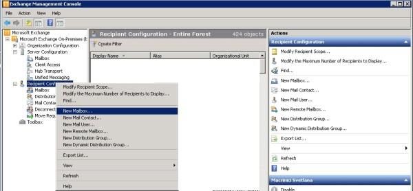 Cum adaugi un mailbox nou in Exchange 2010
