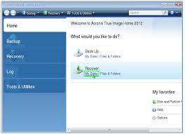 acronis true image menu