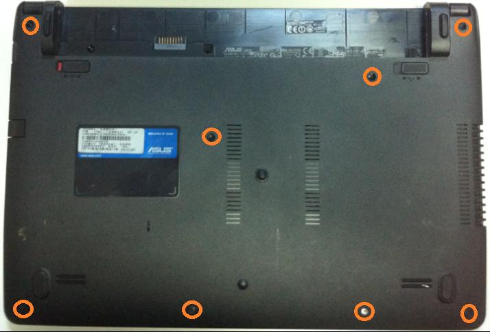 Cum se inlocuieste HDD la Asus x401u suruburi incercuite