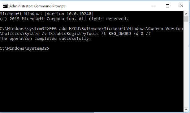 cum rezolvi eroare registry has disable ok