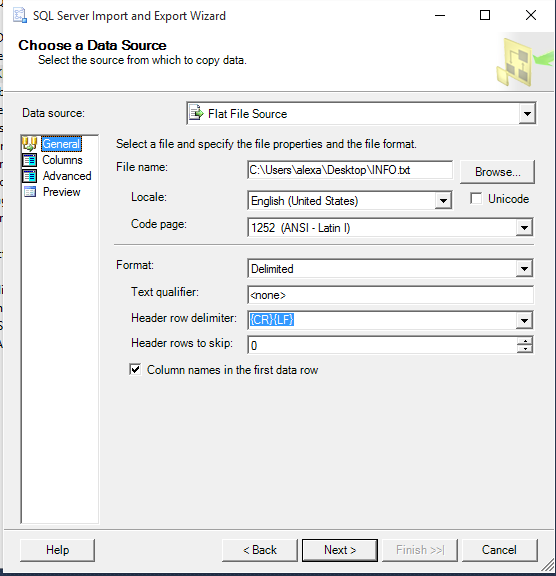 3_SQL_Server_Creare_tabela_din_text