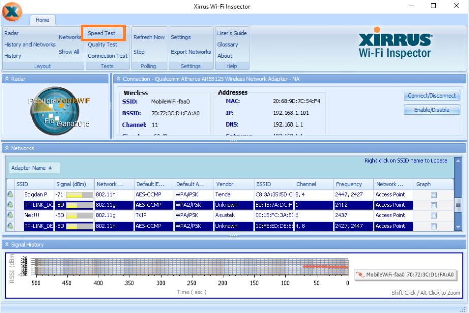 instal xirrus next folder install allow finish application open speed test