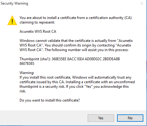 instalare pas cu pas acunetix i agree calea certificat install root certificate