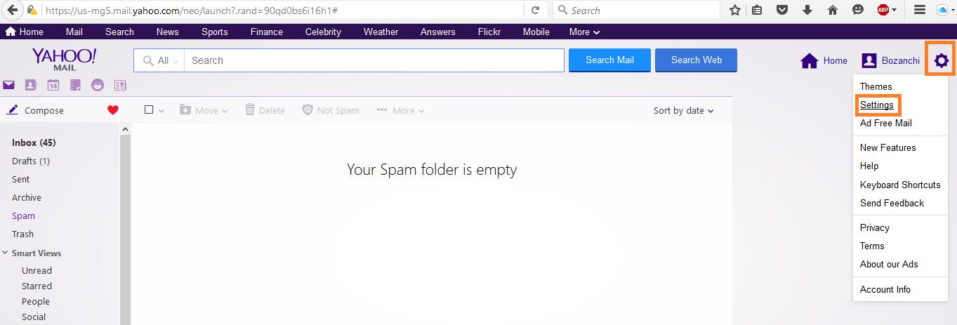 loggin yahoo mail setting