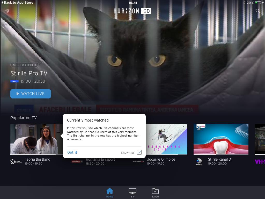 Vizualizare posturi TV romanesti prin intermediul Horizon Go pe IOS